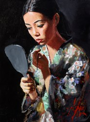 Geisha with Mirror II (Kimono) by Fabian Perez - Original Painting on Stretched Canvas sized 12x16 inches. Available from Whitewall Galleries